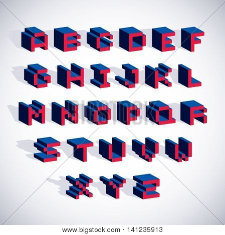 Vector font typescript created in 8 bit style. Pixel art contemporary capital letters set 3d digital design elements.