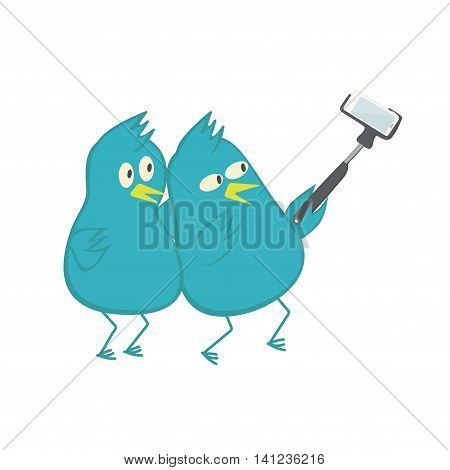 Birds doing a selfie. The pigeons are photographed with monopod. Vector illustration.