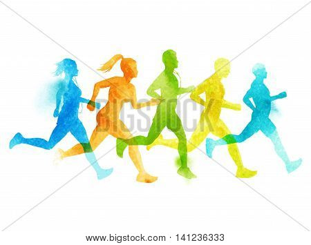 A running group of active people men and women. Watercolour vector illustration.