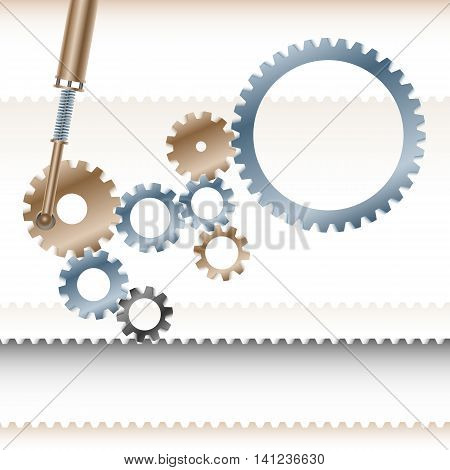 Gear wheels the transmission gear rotate and move the conveyor belt; Business concept of teamwork cohesive organized team; Vector background EPS10