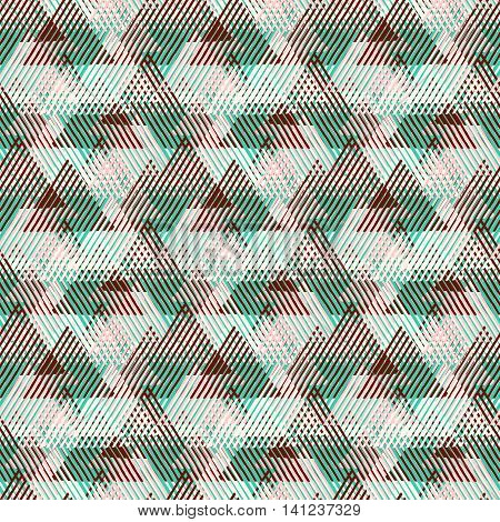 Vector geometric seamless pattern with lines, triangle, pyramids in pastel pink, brown natural colors. Striped modern bold print in 1980 style for summer fall fashion. Abstract tech chevron background