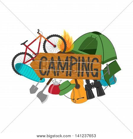 The word camping wooden sign. Tools, equipment and accessories for a hike. Tent, bike, sleeping bag, binoculars and more. Vector illustration.