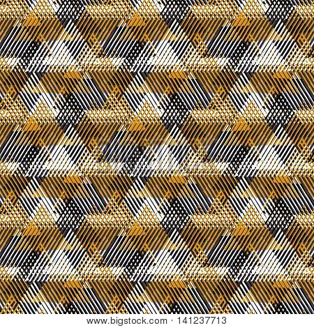 Vector geometric seamless pattern with lines, triangle, pyramids in black, white, gold natural colors. Striped modern bold print in 1980 style for summer fall fashion. Abstract tech chevron background