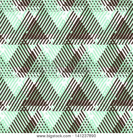 Vector seamless geometric pattern with striped triangles, abstract shapes. Hand drawn background with cross lines in 1980 fashion style. Modern textile print in pastel mint green, cocoa brown, white