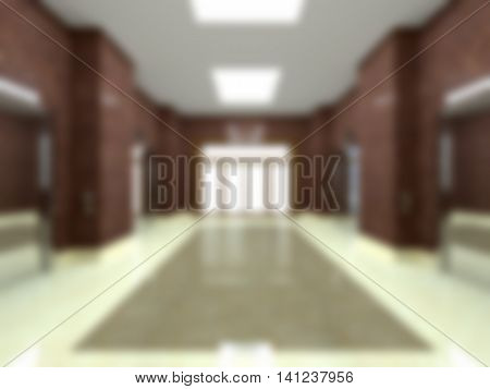 3D Rendering Of A Blurred Lobby With Lift In An Office Building