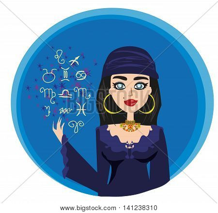 The Fortuneteller woman on abstract background , vector illustration