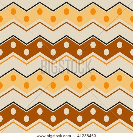 Abstract seamless pattern with ethnic motifs. Wide horizontal zigzag stripes with circles in brown, orange, yellow, black colors. Contrast geometric print. Vector illustration for creative design