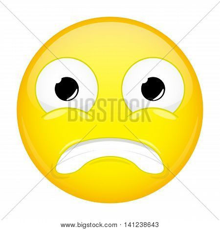 Shocked emoji. Fear emotion. Puzzled emoticon. Vector illustration smile icon.