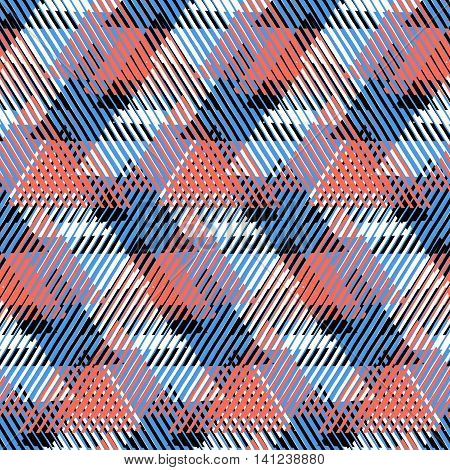 Vector seamless geometric pattern with striped triangles, abstract dynamic shapes in pastel red blue, white, black colors. Hand drawn background with lines in 1990s fashion style. Modern textile print