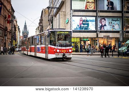 PRAGUE CZECH REPUBLIC - MARCH 5 2016: The vintage excursion tram number 21 parade goes on old town in Prague. on March 5 2016