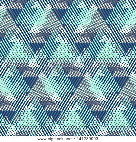 Vector seamless geometric pattern with striped triangles, abstract dynamic shapes. Hand drawn background with overlapping lines in 1980s fashion style. Modern textile print in pastel green blue color