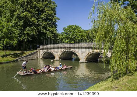 CAMBRIDGE, UK - JULY 18TH 2016: A view of Trinity Bridge over the River Cam in Cambridge UK, on 18th July 2016.