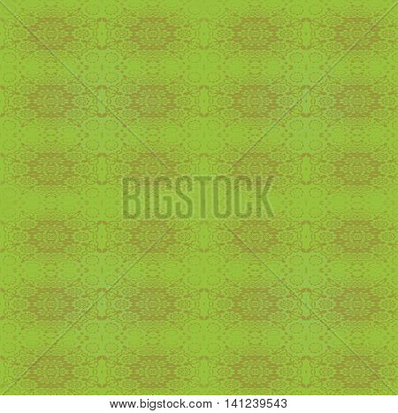 Abstract geometric vintage background in quiet colors. Ornate regular ellipses pattern brown and olive green on apple green.