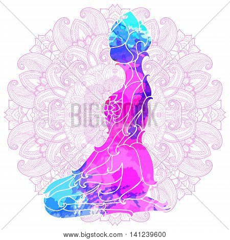 girl in yoga pose over ornate round mandala pattern. Yoga concept. Decorative design for cover, t-shirt, hippie poster, flyer.
