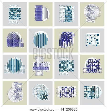 Abstract vector backgrounds set geometric illustrations collection.