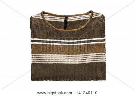 Folded brown pullover isolated on white background