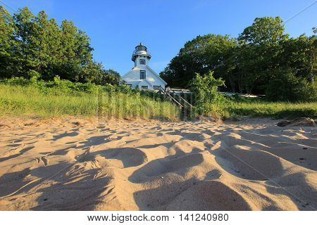 A lighthouse located on the tip of Old Mission Peninsula near Traverse City, MI