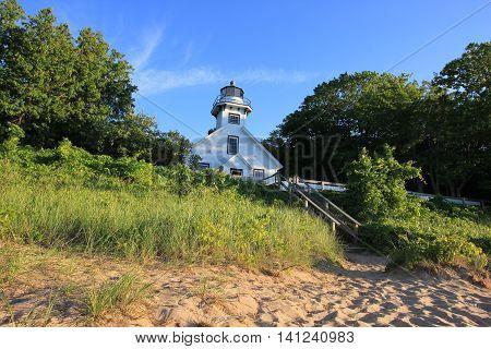 A lighthouse on Old Mission Peninsula close to Traverse City, MI