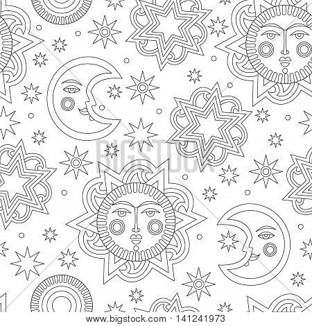 Wallpaper for children's room. Contour sun and stars background seamless pattern. Vector illustration