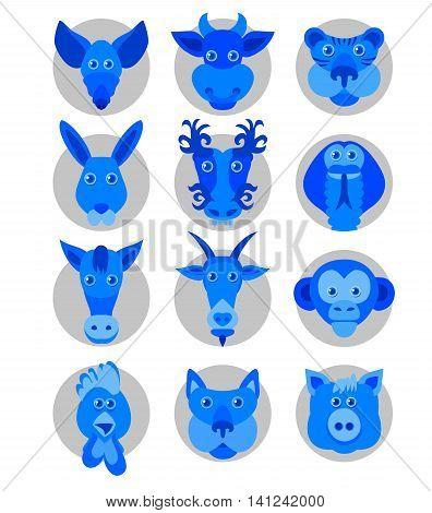 Blue Chinese zodiac animal icons. Vector illustration.