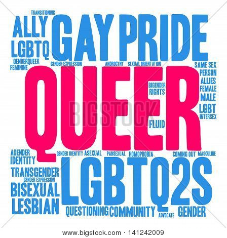 Queer word cloud on a white background.
