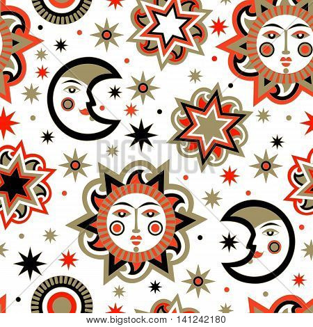 Holiday package with sun and stars background seamless pattern. Wallpaper for children's room. Vector illustration