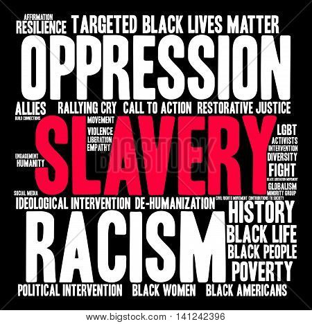 Slavery word cloud on a black background.