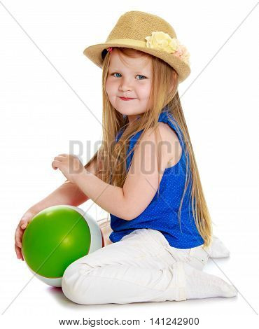 Cute little girl in hat plays with a sword - Isolated on white background