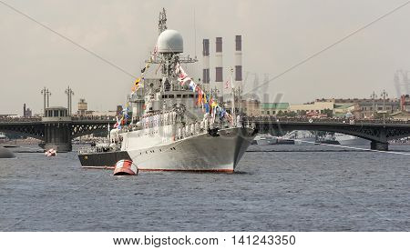 St. Petersburg, Russia - 31 July, Warship on board with the team, 31 July, 2016. Festive parade of warships on the Neva River in St. Petersburg.