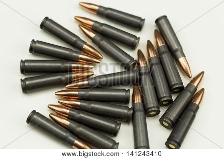 Ak-47 Rifle Cartridge Hollow Point Bullet 7.62x39mm Top View Ammo Laying On Side