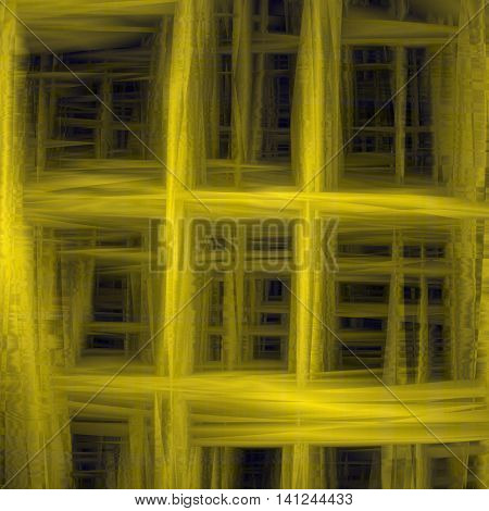 Unique abstract mesh yellow background. Design of the refraction and interference of light. An overflow of colors. Glitch effect. Infinity. Vector illustration.