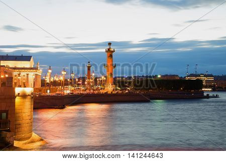 ST. PETERSBURG, RUSSIA - JUNE 19 2016: View of the Spit of Vasilyevsky Island white night. Historical landmark of the city St. Petersburg, Russia