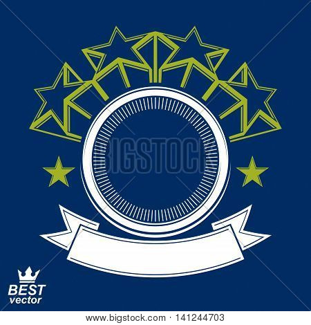 Vector stylized corporate design element celebrative stars web emblem.