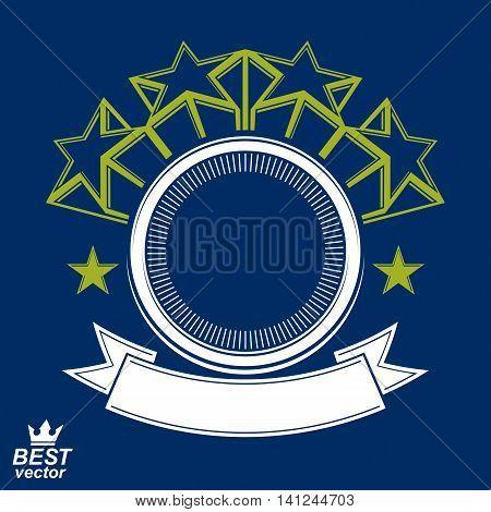 Vector stylized corporate design element celebrative stars web emblem.