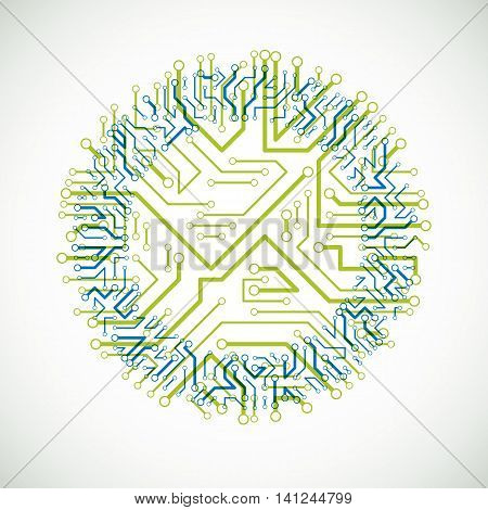 Futuristic Cybernetic Scheme, Vector Motherboard Green And Blue Illustration. Circular Element With