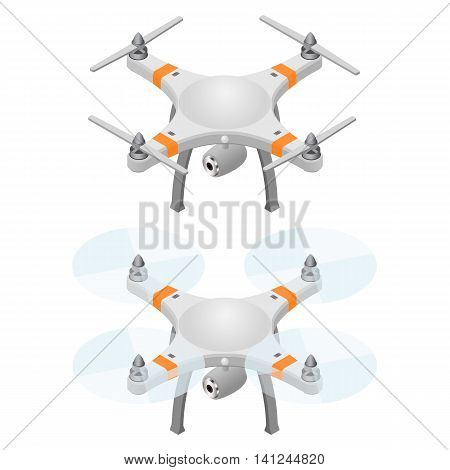 Flying drone in isometric view. Modern flying helicopter toy with video recording function. Isolated on white background. Vector illustration.