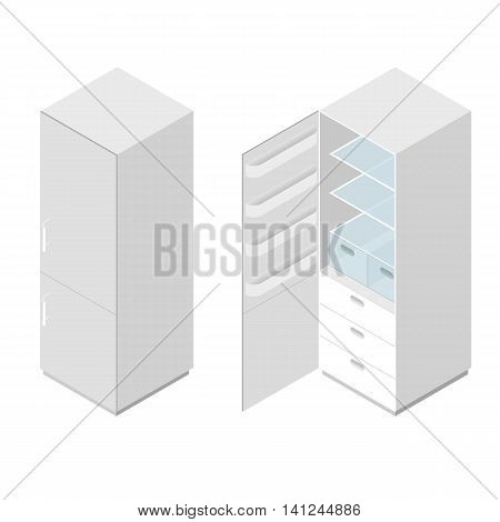 Classic white home fridge. Flat isometric. Refrigerator for freshness of food and drinks. The interior of the kitchen. Electric freezer. Glass shelves. Vector illustration.