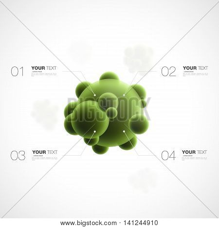 Abstract 3d green bacteria with infographics template for your content design isolated on white background vector stock eps 10 illustration