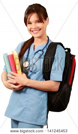 Female Medical Student with Books and Backpack - Isolated