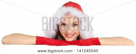 Christmas Girl Peeking from Behind Invisible Wall - Isolated