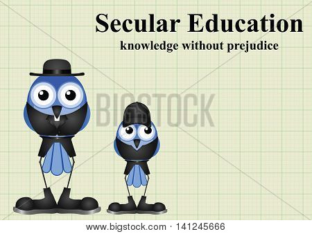 Secular education with knowledge without prejudice and the influence of religion on graph paper background with copy space for own text