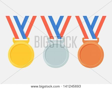 Gold silver and bronze medals vector set isolated from the background. Icons empty  medals on ribbons in flat style. Sports medal winners.