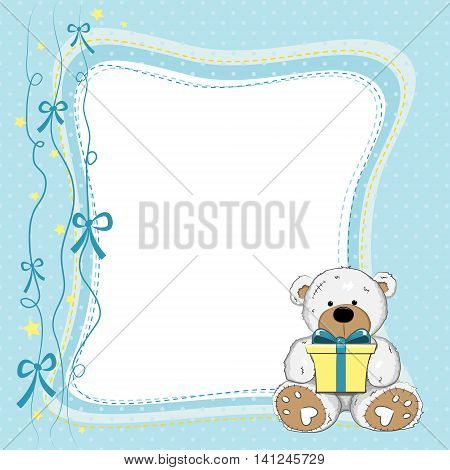 Blue Birthday Card with Teddy Bear holding a yellow gift box on polka dotted background.