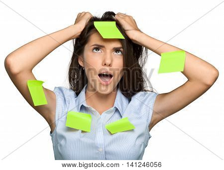 Portrait of a Frustrated Businesswoman Covered with Adhesive Notes