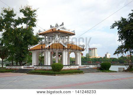 HUE, VIETNAM - DECEMBER 15, 2015: Gazebo pagoda in city Park. Religious landmark  of the city Hue, Vietnam