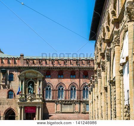 Palazzo Accursio In Bologna, Emilia-romagna. Italy.