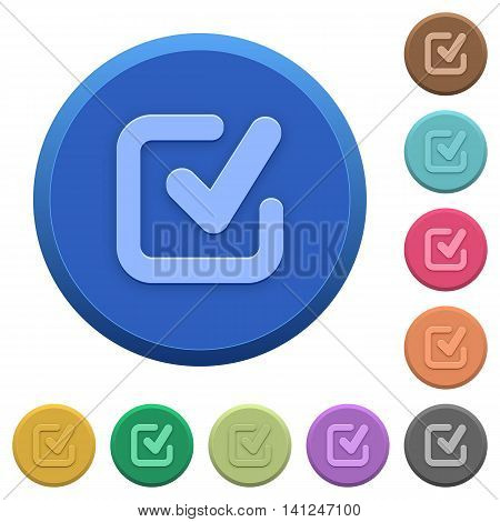Set of round color embossed checkmark buttons