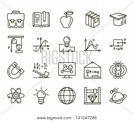 Physics. Back to school. Set of linear icons on a white background