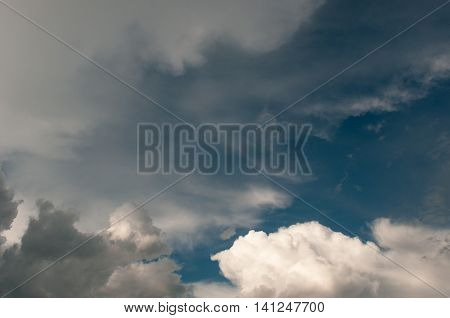 Dramatic sky with various colors clouds. Dramatic cloudy view.