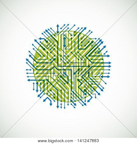 Futuristic Cybernetic Scheme With Multidirectional Arrows, Vector Motherboard Green And Blue Illustr